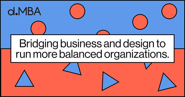 Sticker for the dmba which reads Bridging business and design to run more balanced organisations