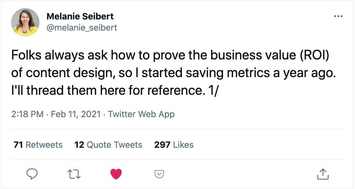 Screenshot of a Twitter thread about the ROI of content design