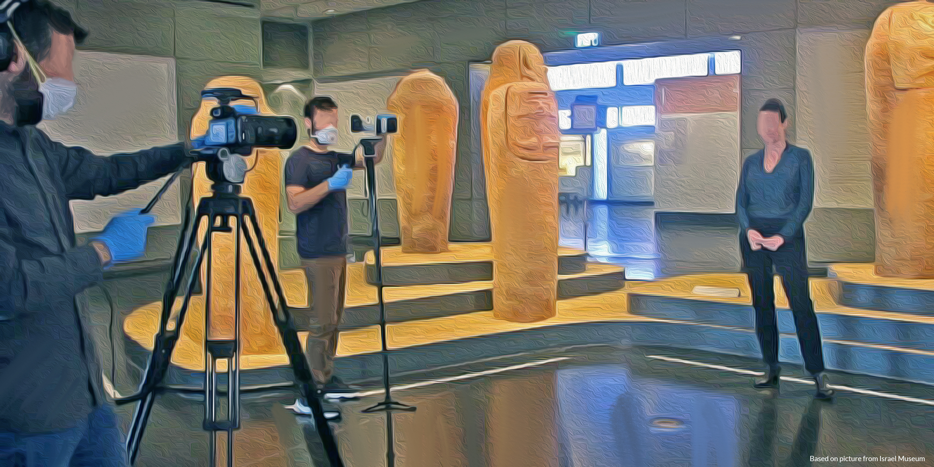 Artwork image of filming taking place inside a history museum.